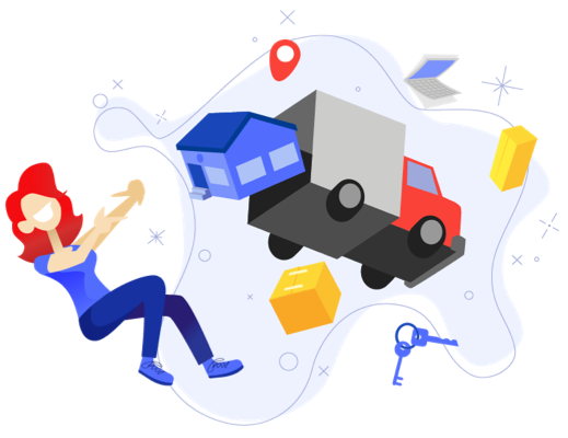 Woman packing moving truck