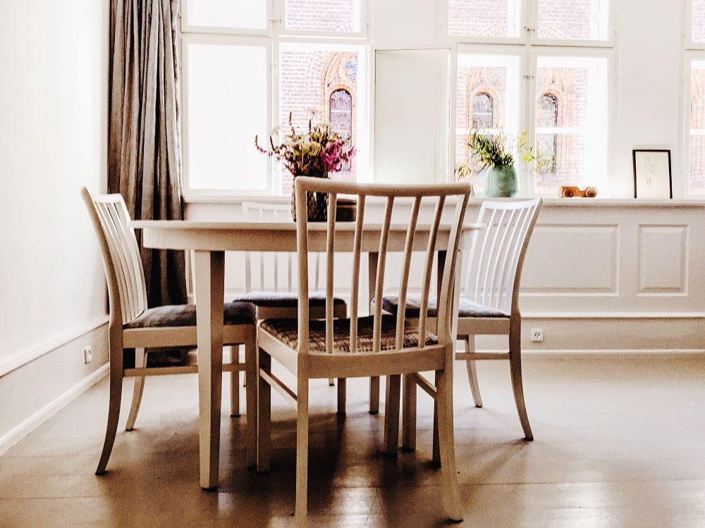 Dining room with wood chairs