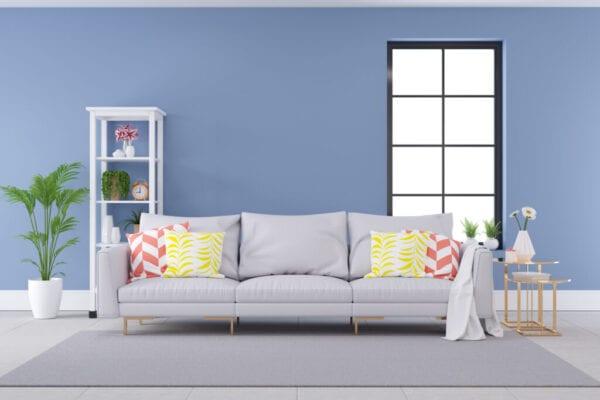 Modern Luxury Living Room Interior Design, Gray Sofa On Black Wall And Concrete Floor,3D Rendering