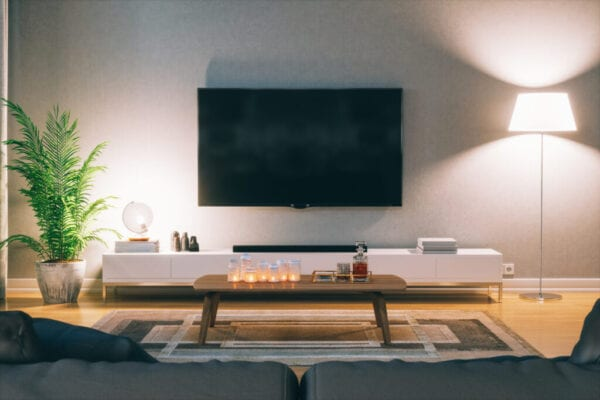 Scandinavian Style Modern Living Room With Television At Night