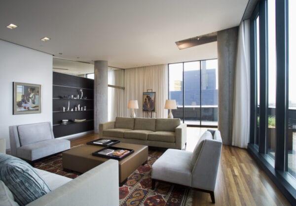 Contemporary Living Room in Loft Condominium