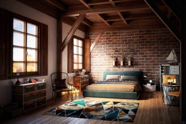 Digitally generated warm and cozy home interior.  The scene was rendered with photorealistic shaders and lighting in Autodesk® 3ds Max 2016 with V-Ray 3.6 with some post-production added.