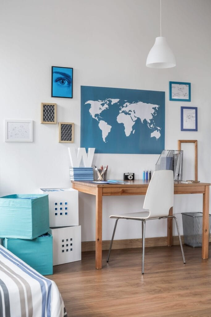Stylish workspace in beauty modern teen room