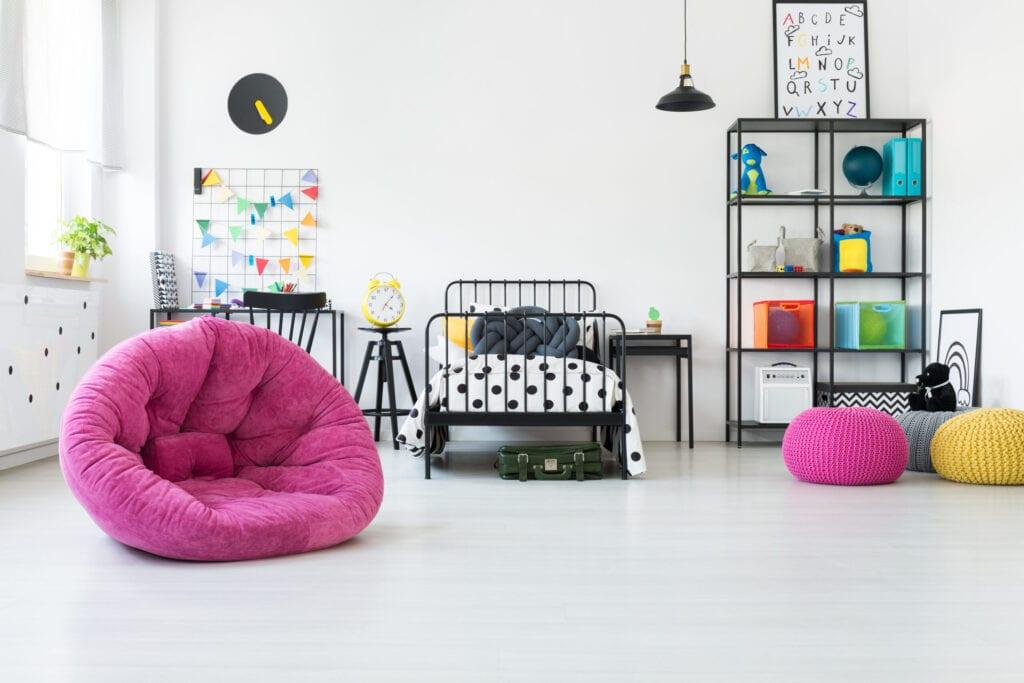 pink and black tween room