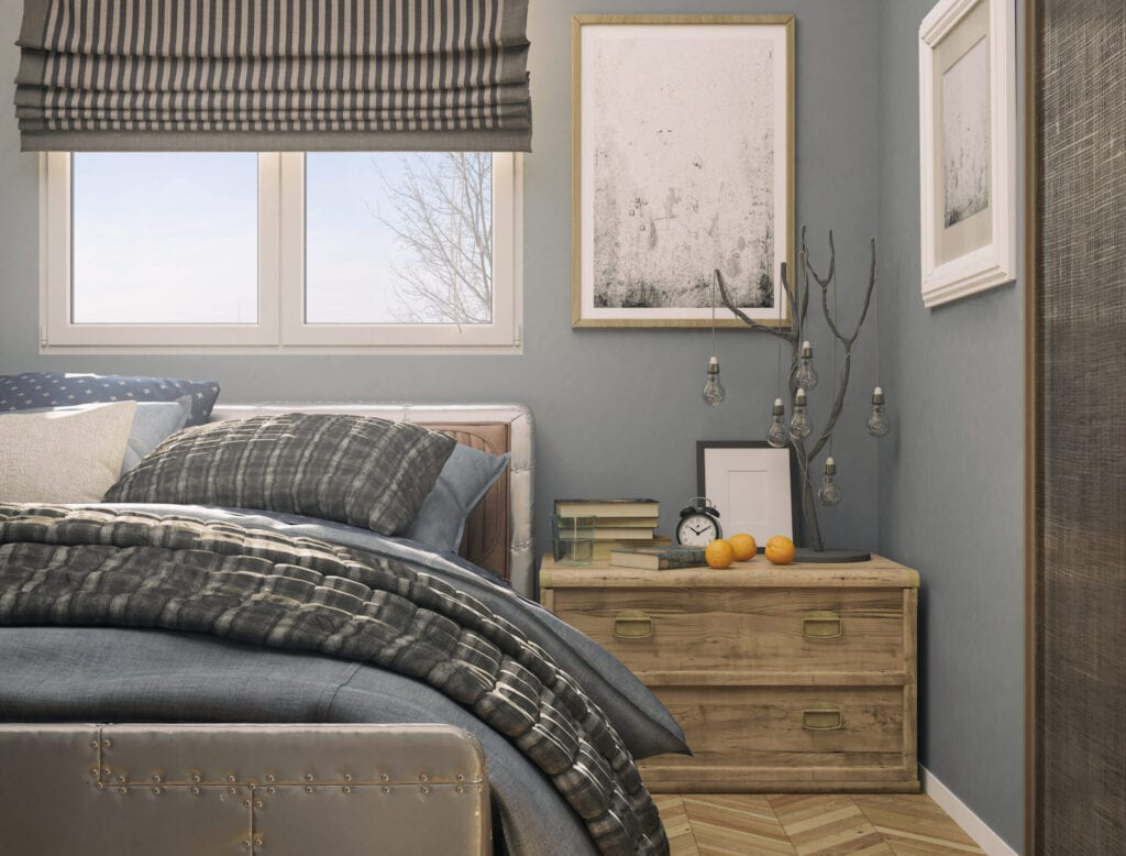 Picture of a cozy tiny bedroom. Render image