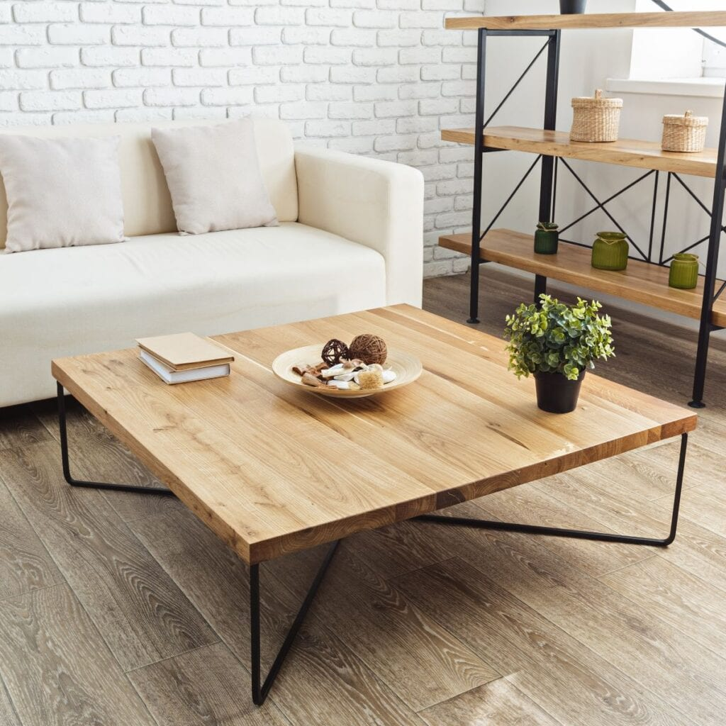 Wood table and shelves inside loft apartment