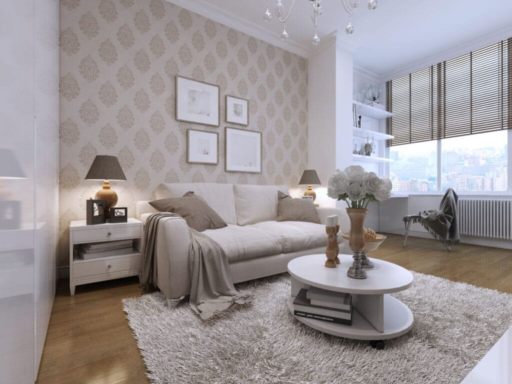 Art deco style guest bedroom with patterned wallpaper