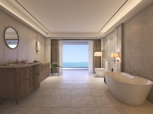 3d rendering luxury bathroom with classic furniture