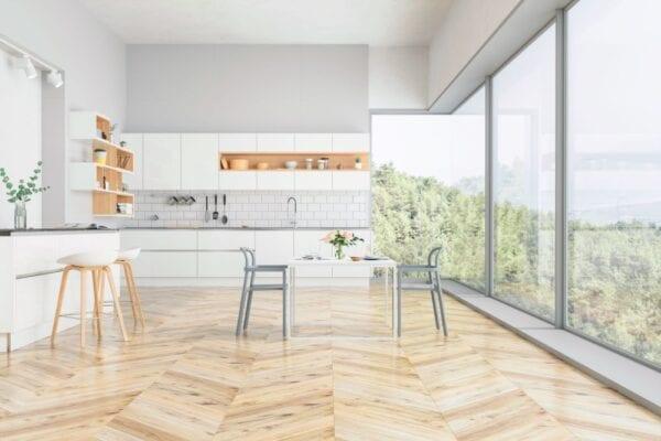Patterned wood floor in modern minimalist living room