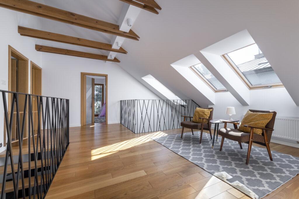 Modern interior design - garret in wooden finishing