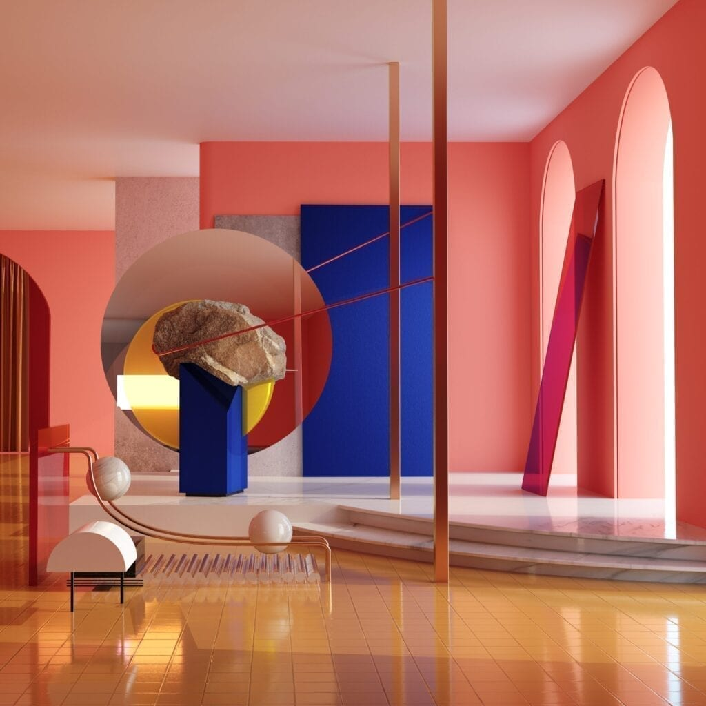 Conceptual pink interior. Interaction between natural materials, forms and modern interior space