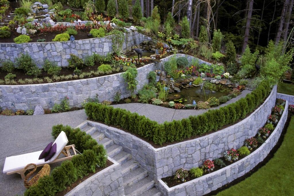beautiful landscaping garden retaining wall