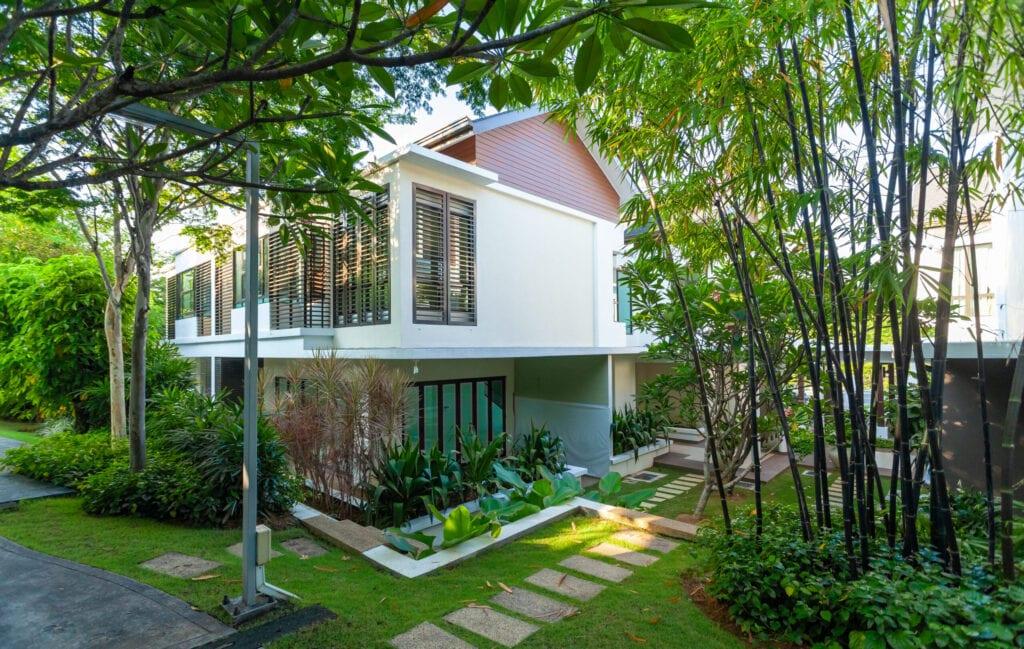Modern gardening in bungalow house