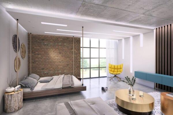 Modern loft studio apartment interior