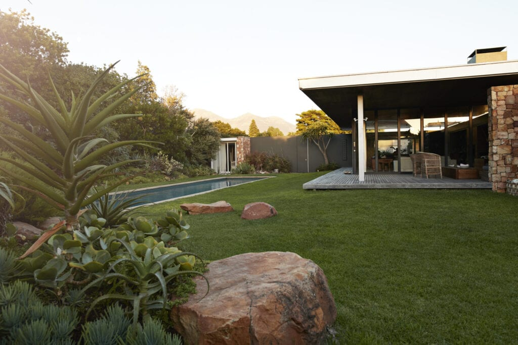 Still life of modern beautiful designed house with pool