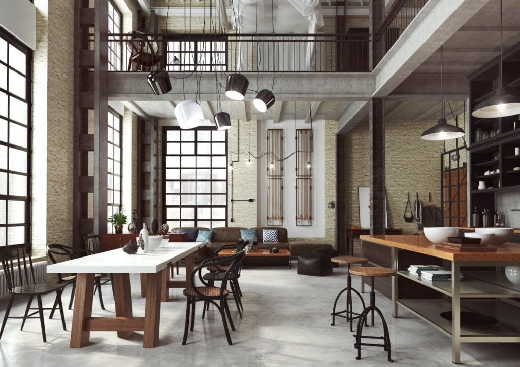 Industrial style loft, view from kitchen and dining room