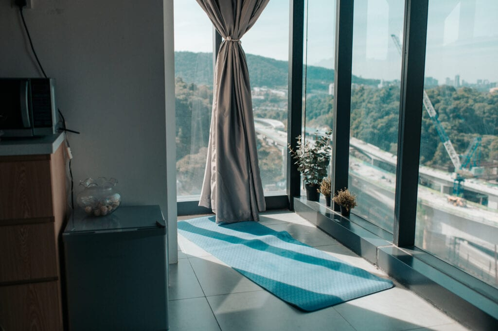 corner window with yoga mat
