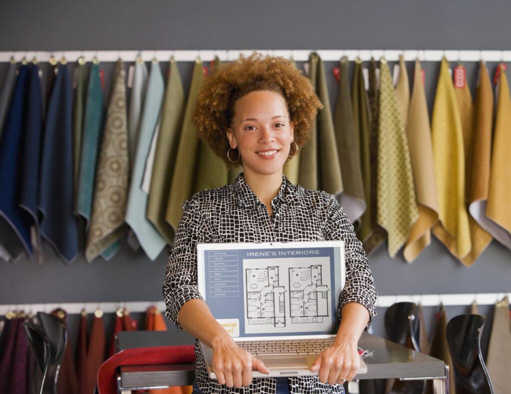 wpman interior designer in front of fabric