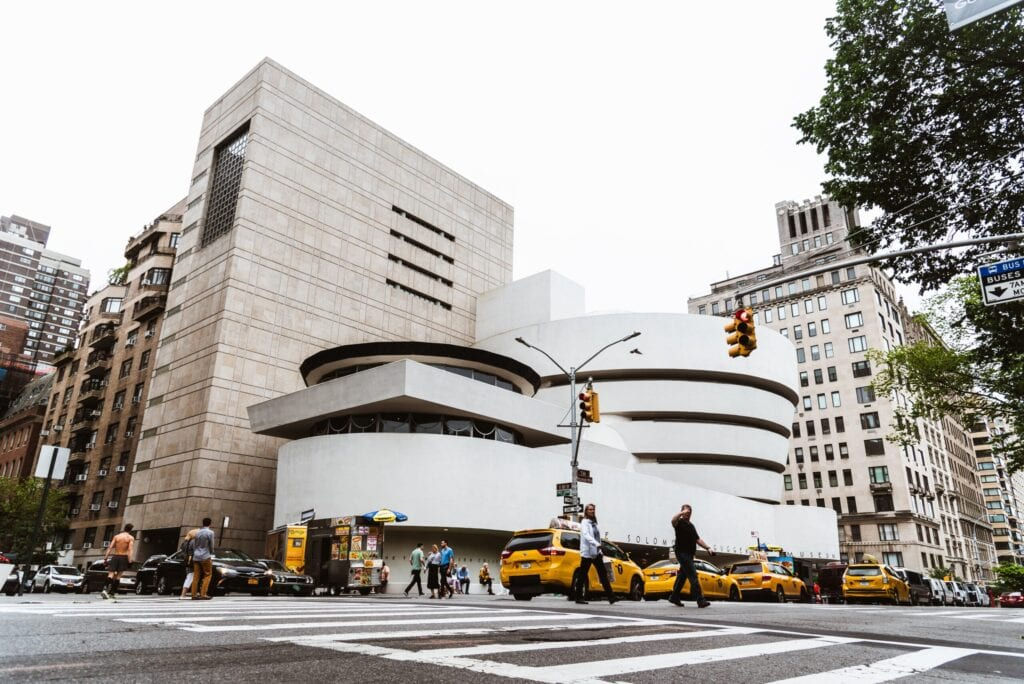 New York City, USA - June 23, 2018: The Solomon R. Guggenheim Museum of modern and contemporary art. Designed by Frank Lloyd Wright