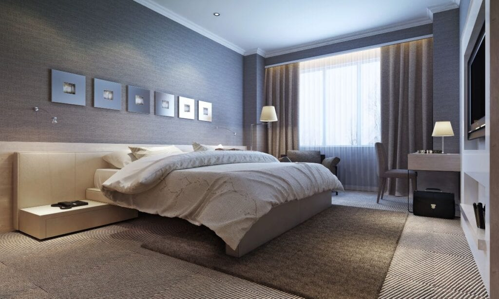 Modern bedroom with brown carpet