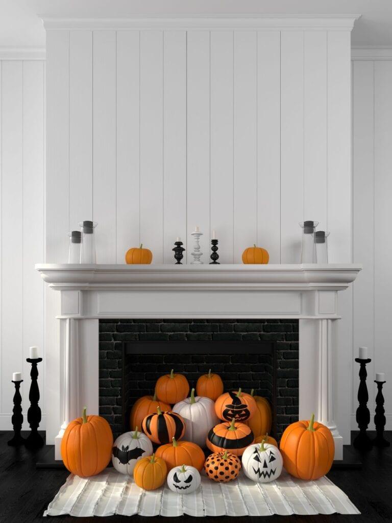 Pumpkins inside fireplace, halloween decorations