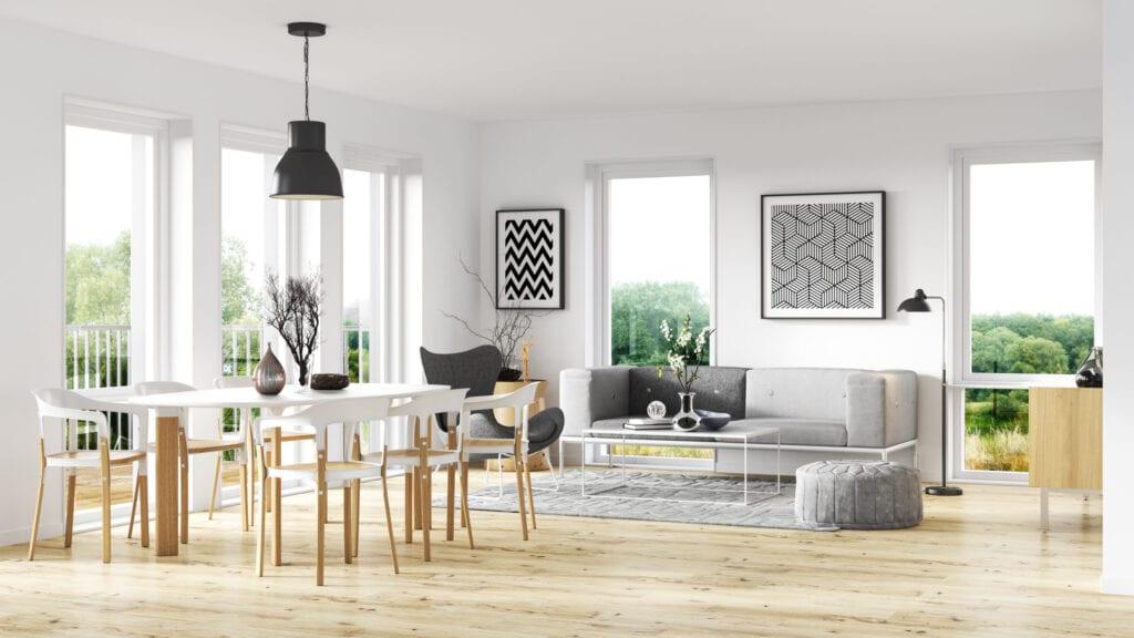 Scandinavian interior style. Render image.