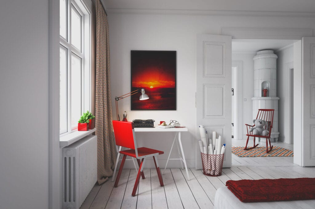 Digitally generated cozy Scandinavian home interior design.