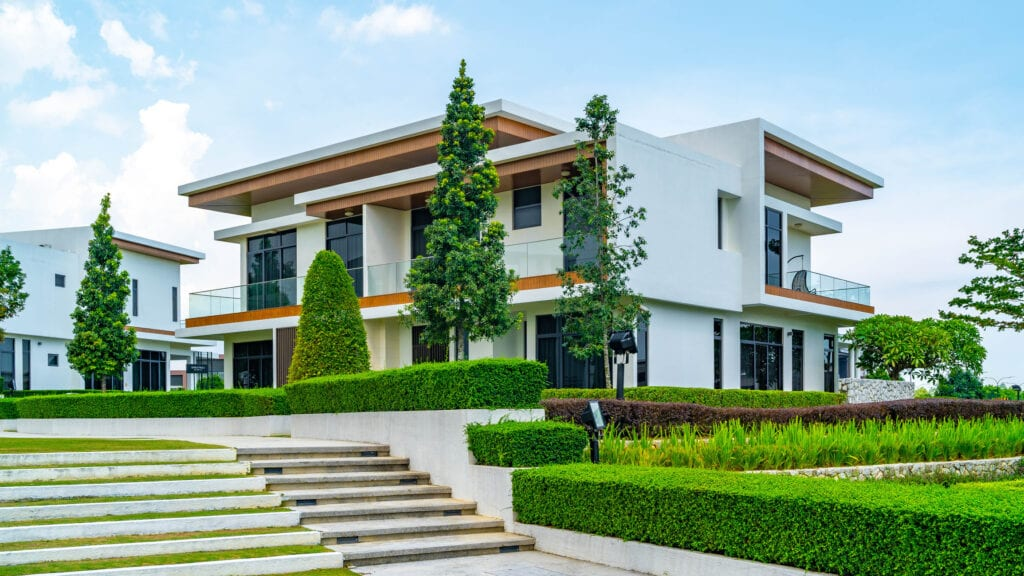 Modern exterior housing design with garden