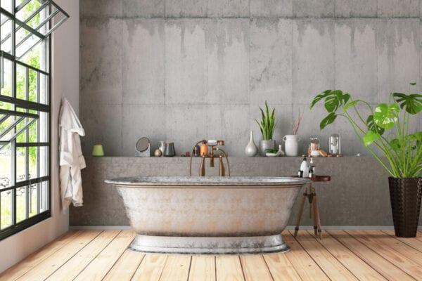Bathtub in the loft interior