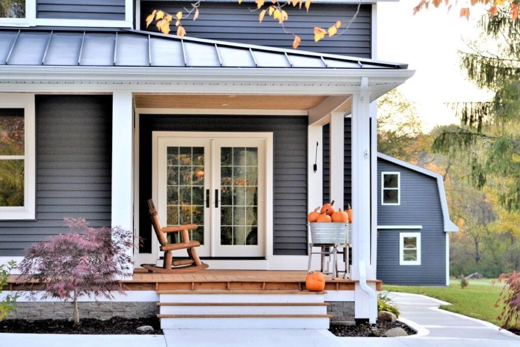 Blue country home exterior