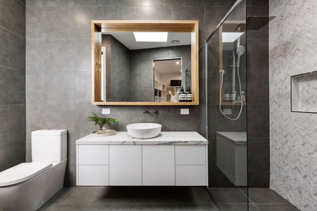 Minimalist gray and white bathroom