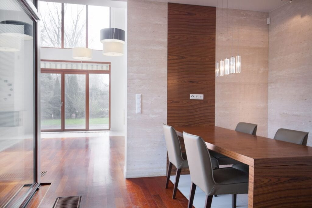 Modern minimalist dining room in large home