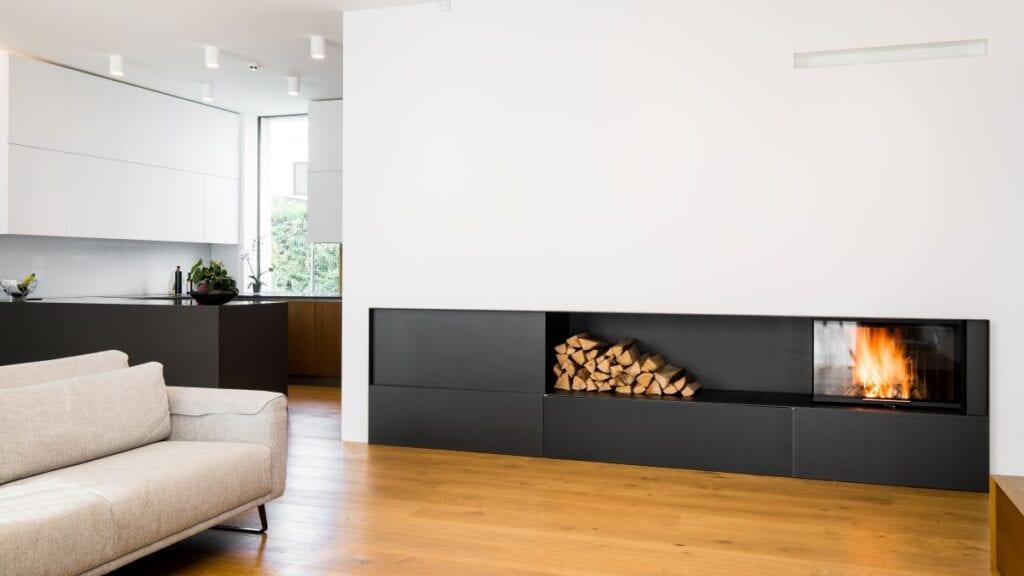 Minimalist fireplace inside modern home