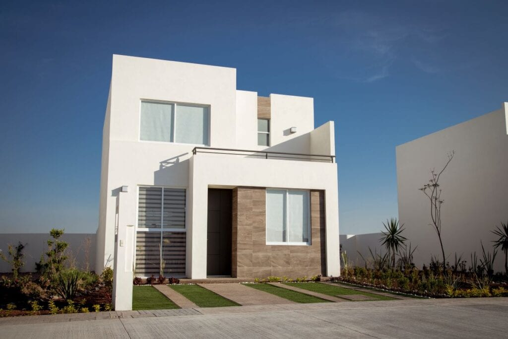 Exterior of minimalist style house, mixed materials