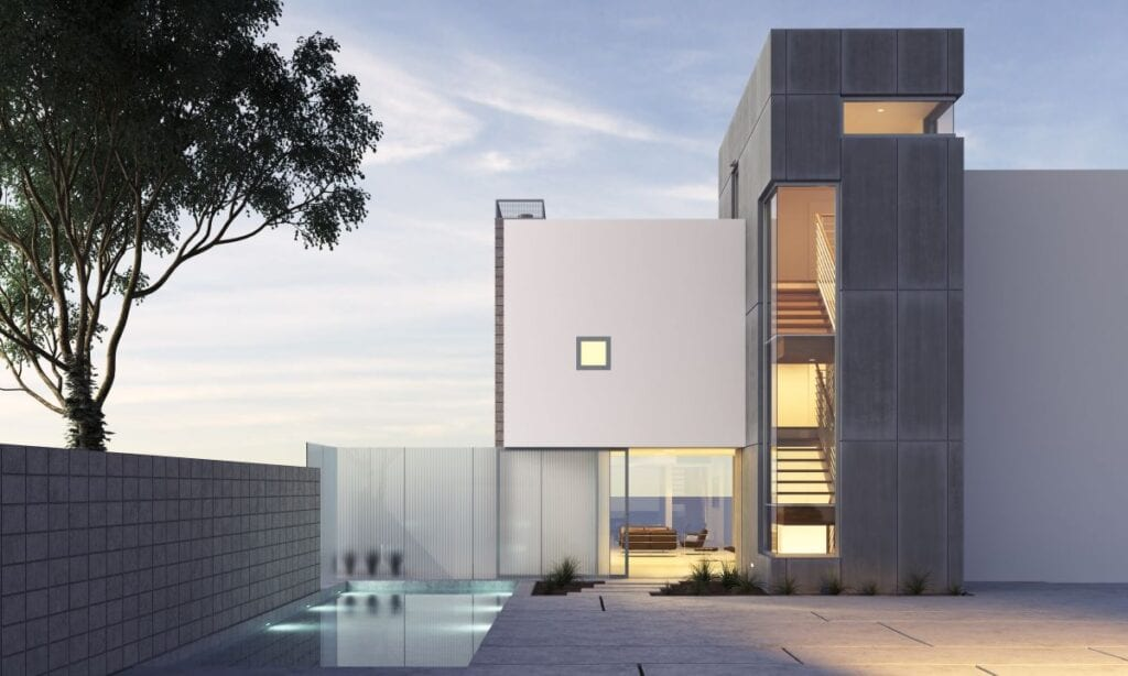Exterior of modern house with minimalist geometric architecture