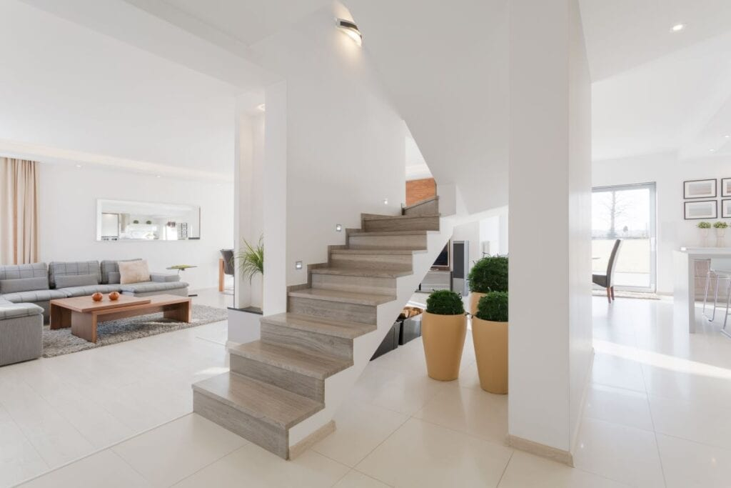 Staircase inside minimalist home