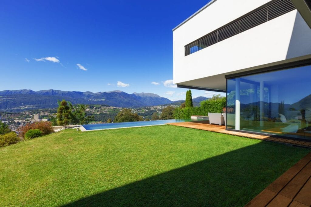 Exterior of minimalist villa with beautiful view of the mountains