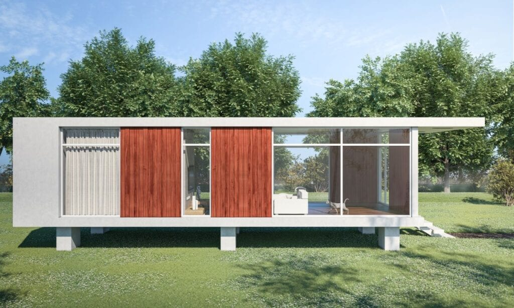 Small minimalist house with beautiful green landscaping