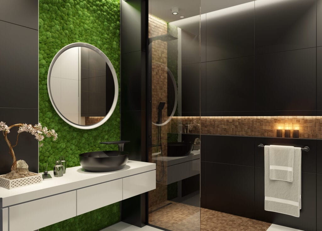 Luxurious bathroom with natural stone tiles and elegant round mirror. Candle lens flare effect. Green moss wall.