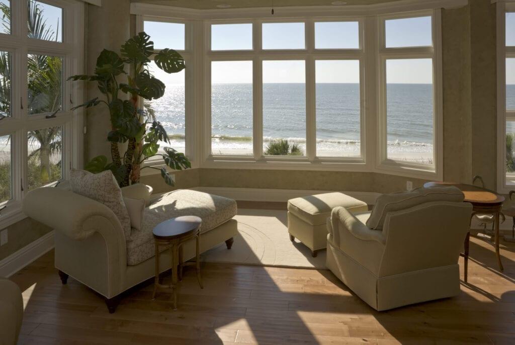 A sun room at a beach house in Southwest Florida.