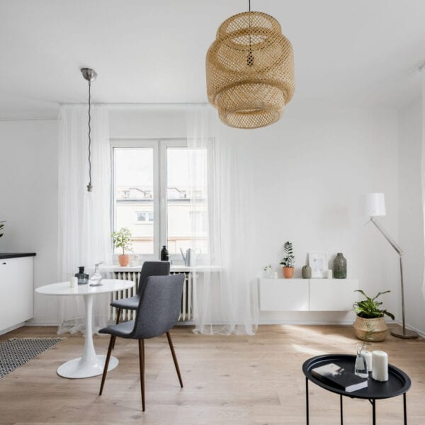 Spacious apartment interior with table