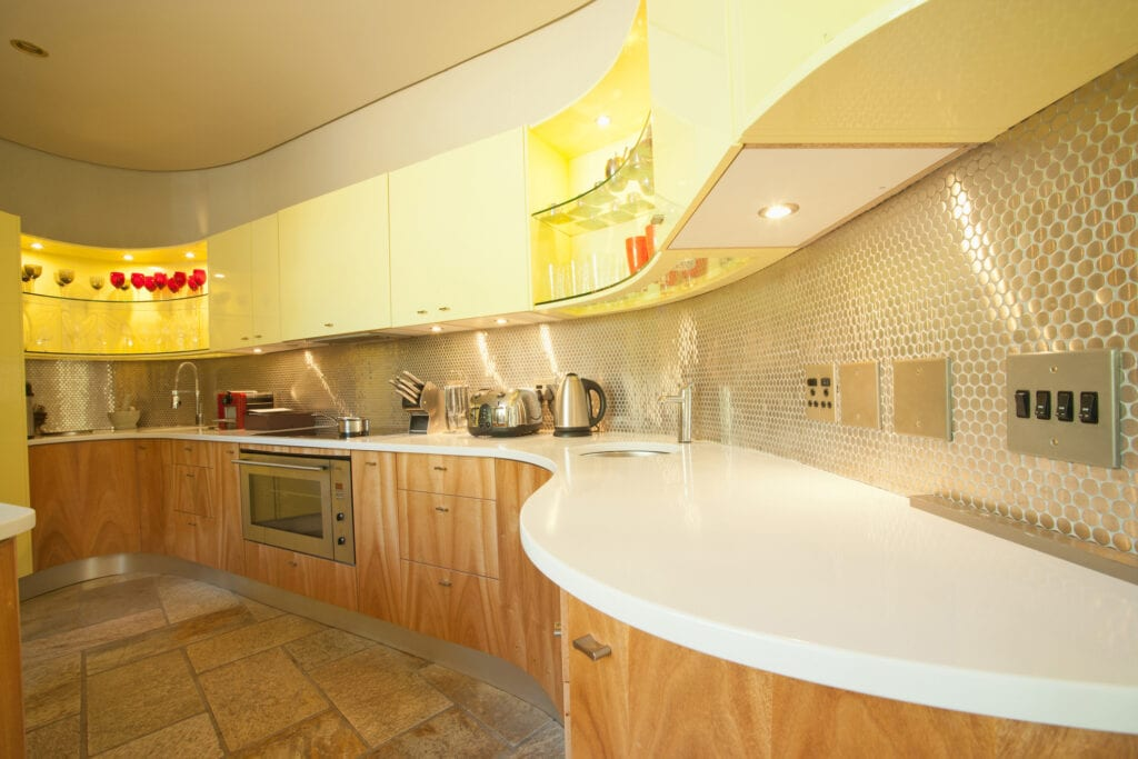 Kitchen with curved counters