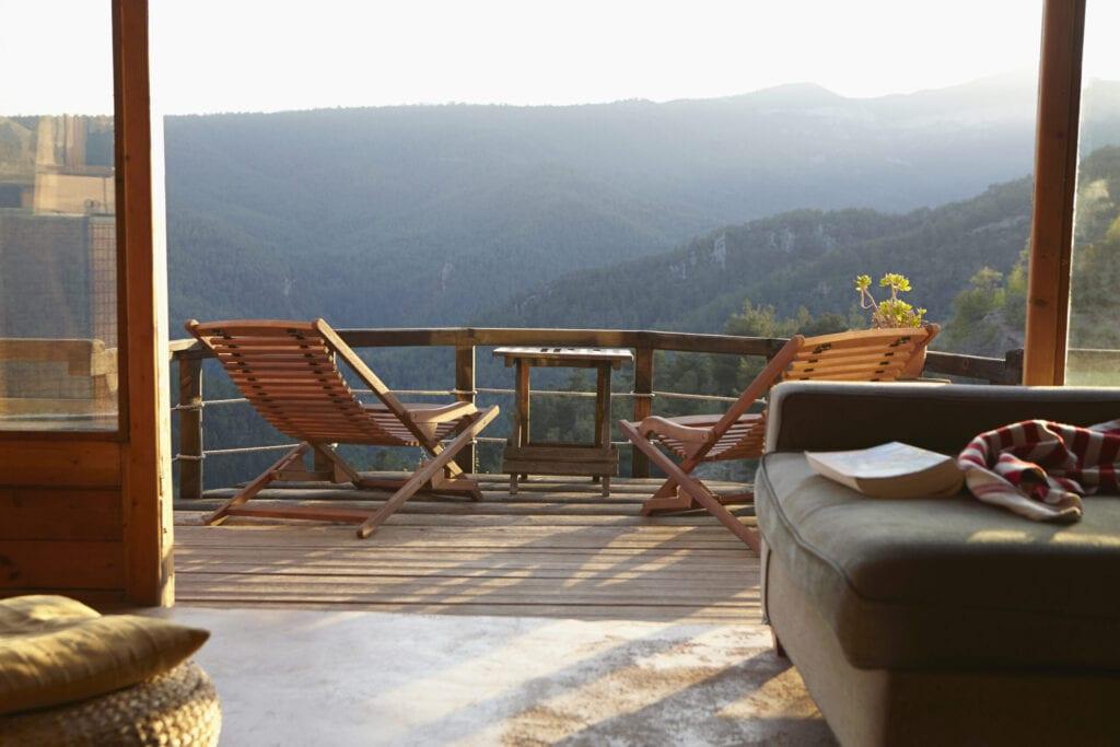 mountain house deck view
