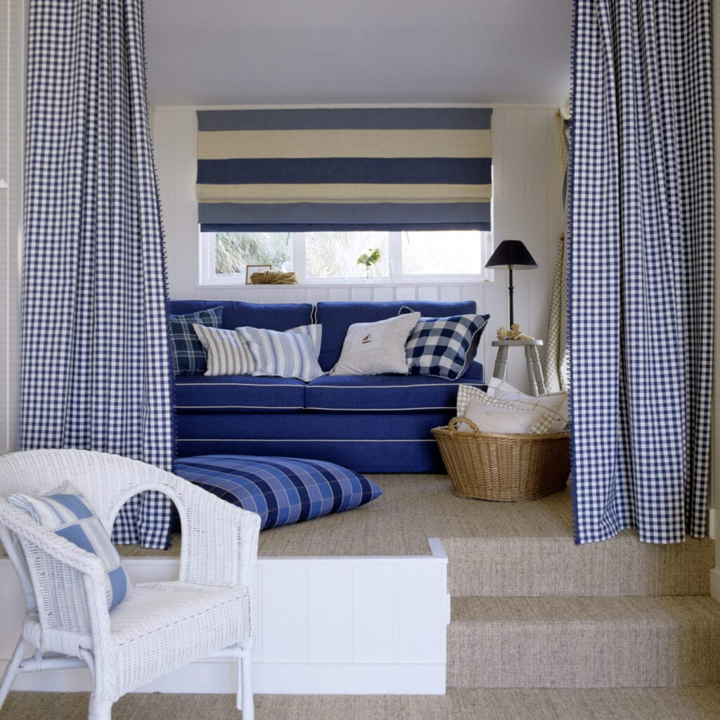 Cornish beach house renovation with checked and striped fabric detailling