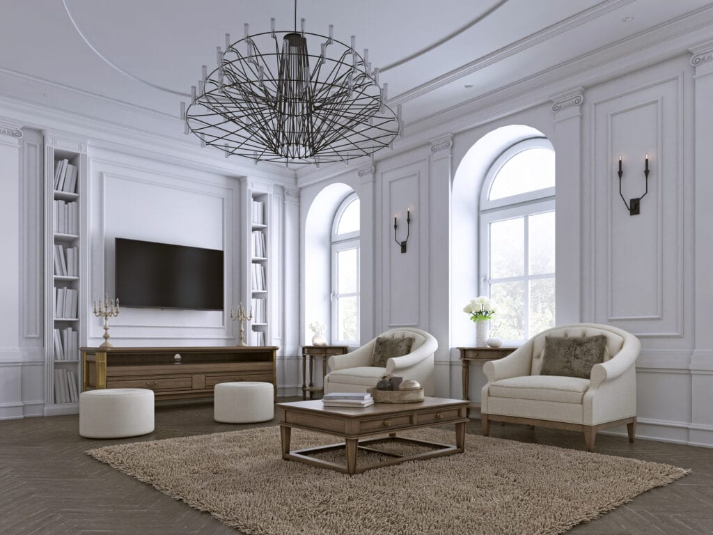 Classic living room, paneling and ceiling moldings over a herringbone hardwood floor furnished with white upholstered sofas and ottoman. 3d rendering