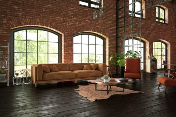 Industrial Style Living Room with Brick Walls