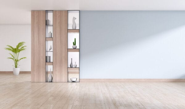 Empty Interior Room ,Gray Wall With Wood Shelf And Engineered Wood Flooring ,3D Rendering