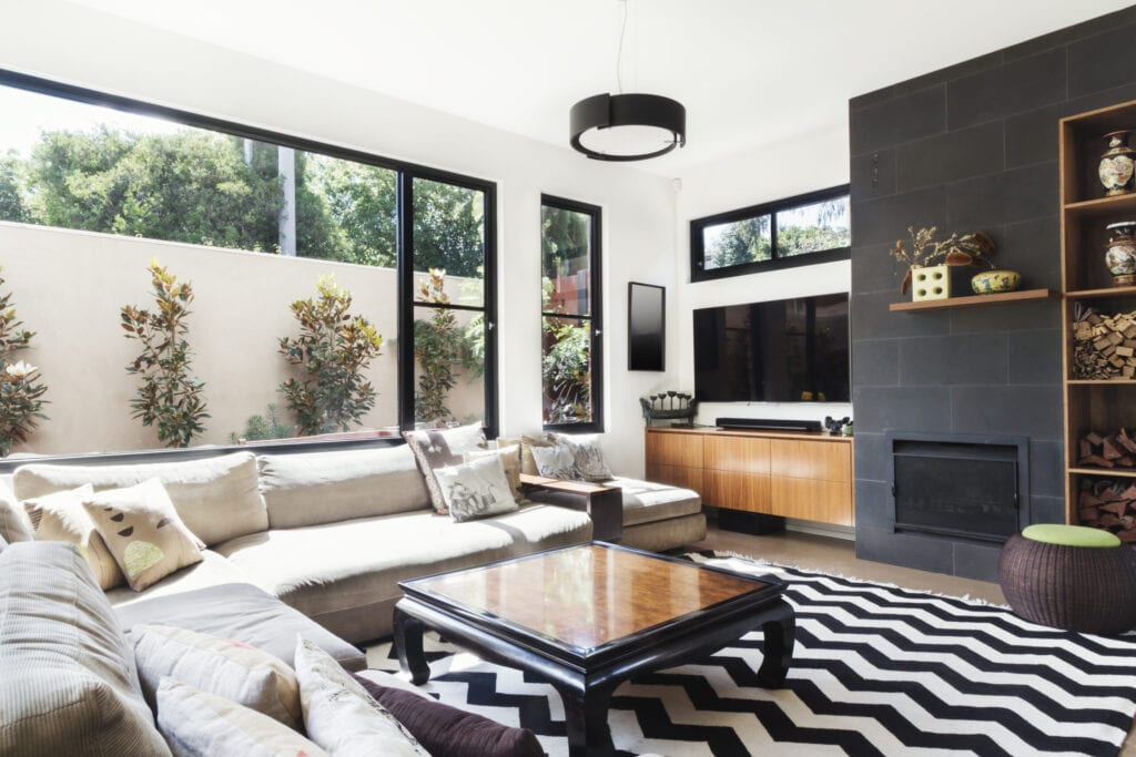 living room with chevron rug