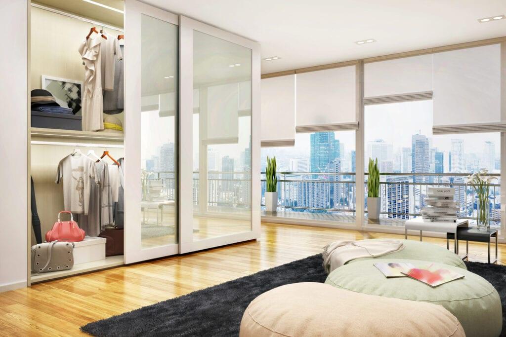 Modern wardrobe in a residential building