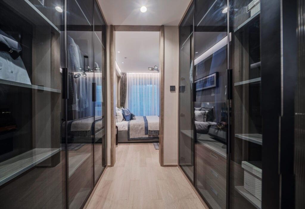 interior of walk-in closet